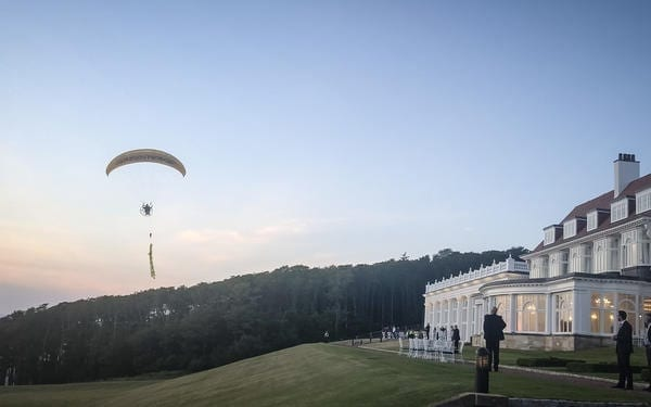 Greenpeace has flown a paraglider over Turnberry