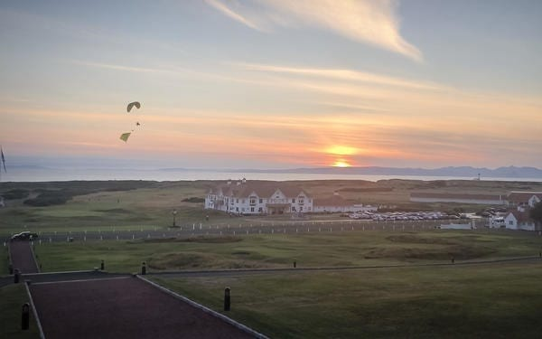 The paraglider flew three miles across the Ayrshire countryside