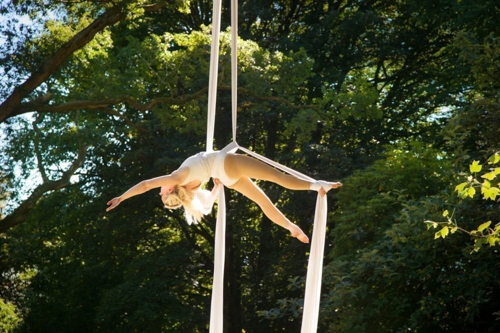 Timber Festival, Whispering Woods, Aerial workshops and performance in the trees