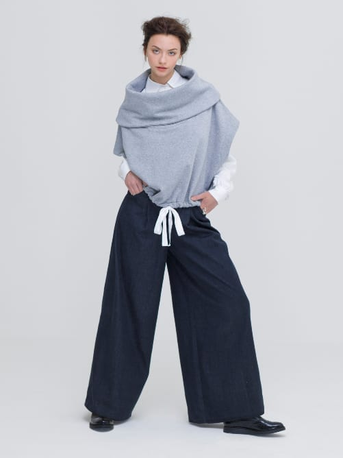 Zola Amour GOTS Organic Cotton Poncho, with GOTS organic cotton jeans and OEKO-TEX bamboo shirt
