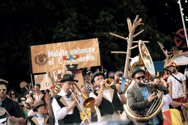 Cardboardia procession at Timber Fest 2019