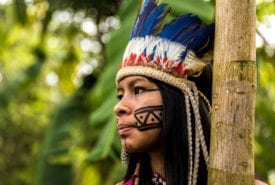 Indigenous girl from Tupi Guarani tribe in Manaus, Brazil