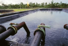 Discharge pond at a petroleum production station in the Ecuadorian Amazon